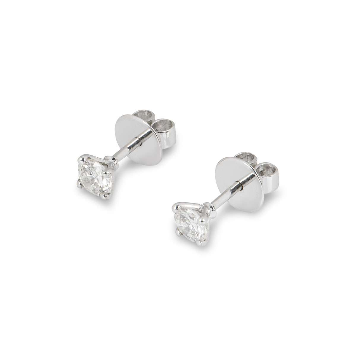 White Gold Round Brilliant Cut Diamond Earrings 0.60ct TDW